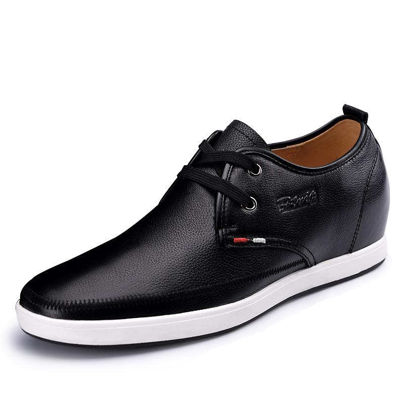 2.36 Inches Taller - Men's Height Increasing Elevator Shoes-Fashion Flat Casual Business Shoes Black Leather Lace Up G716789