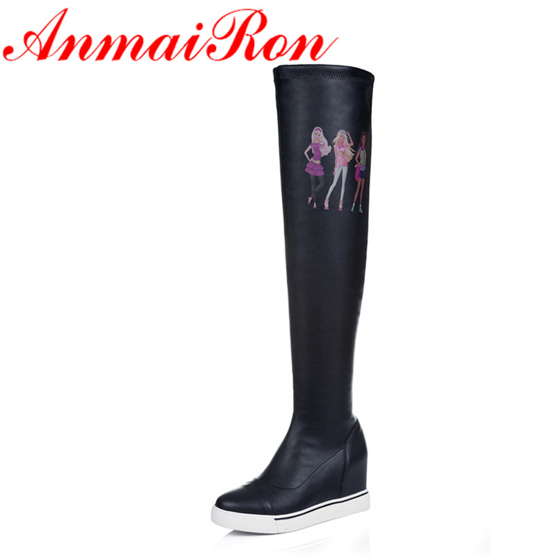 ANMAIRON New Mid-calf Boots Shoes Woman Long Shaft and short Shaft Black Shoes Woman Height Increasing Slip-On Boots Women Shoes