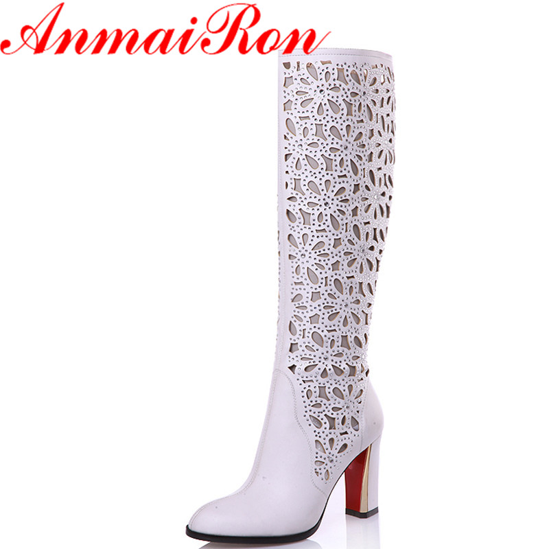 ANMAIRON New Mid-calf Boots Shoes Woman 2 Colros White Shoes Woman High Heels Cut-outs Zippers Summer Boots Brand Women Shoes