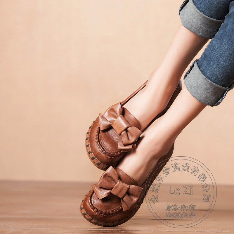 Soft Leather Simple Single Shoes Brand Shoes Woman Cowhide Chinese National Bowtie Woman Shoes Solid Color Lightweight Ethnic