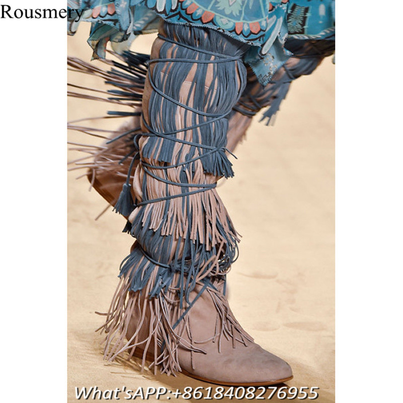 Fashion Women Mixed Color Knee High Woman Boots Cross Tied Height Increasing Woman Shoes Long Boots Fringe High Heel Shoes Woman